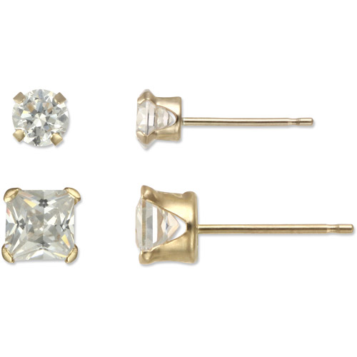 4mm Round/Square CZ 10kt Yellow Gold Stud Earring Set, 2 Pairs