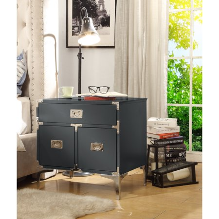 Herbert Dark Grey Lacquer Finish Nightstand - Chrome Leg   Side Table   Executive Style   Modern   by Inspired