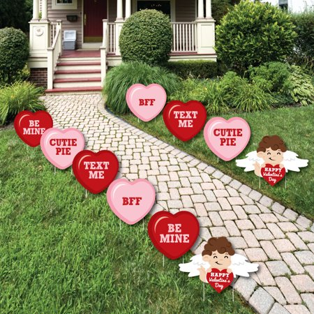 Conversation Hearts - Cupid and Heart Lawn Decorations - Outdoor Valentine's Day Party Yard Decorations - 10 Piece - Outdoor Valentine Decorations