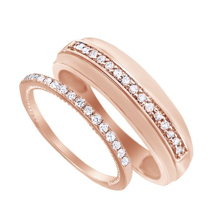 Round Cut White Natural Diamond His And Hers Wedding Band Ring Set in 14K Rose Gold (0.38 Cttw) By Jewel Zone US