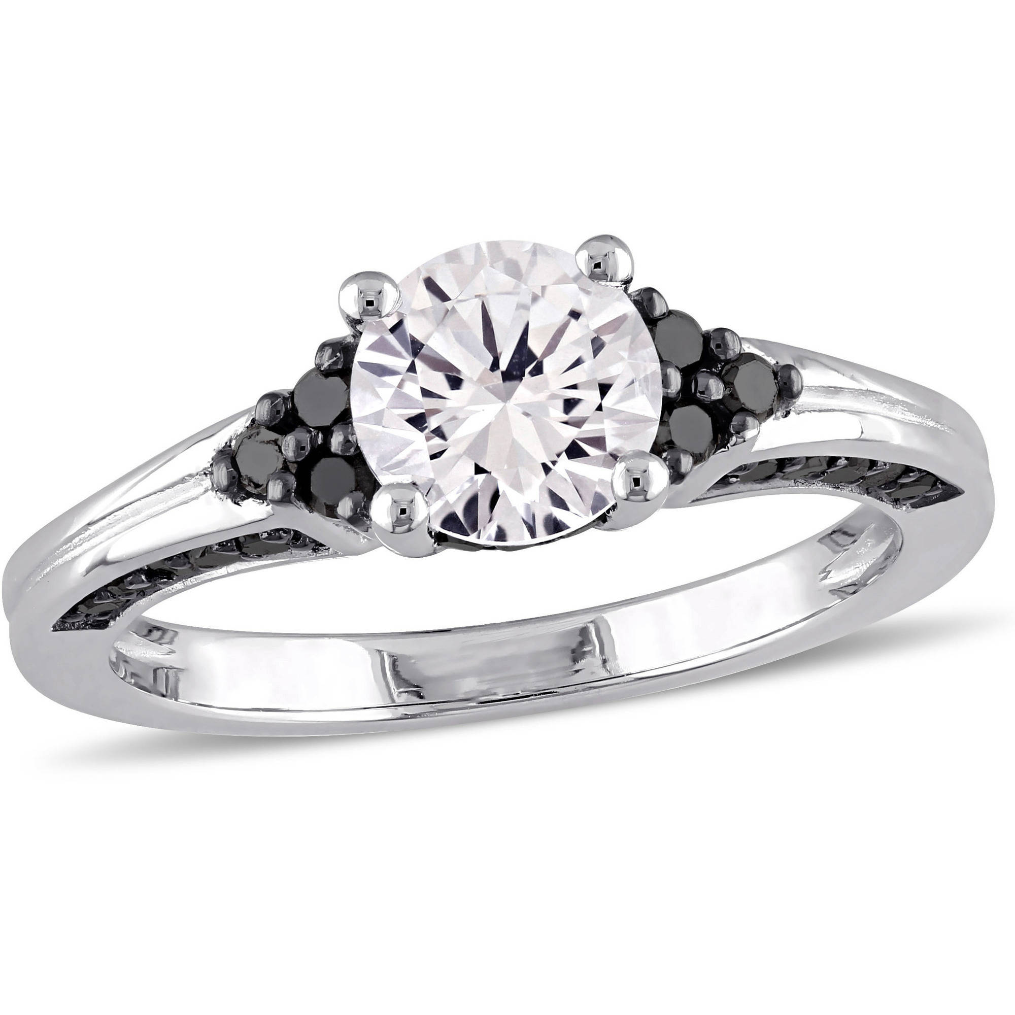 1-3/8 Carat T.G.W. Created White Sapphire and 3/8 Carat T.W. Black Diamond Sterling Silver Engagement Ring