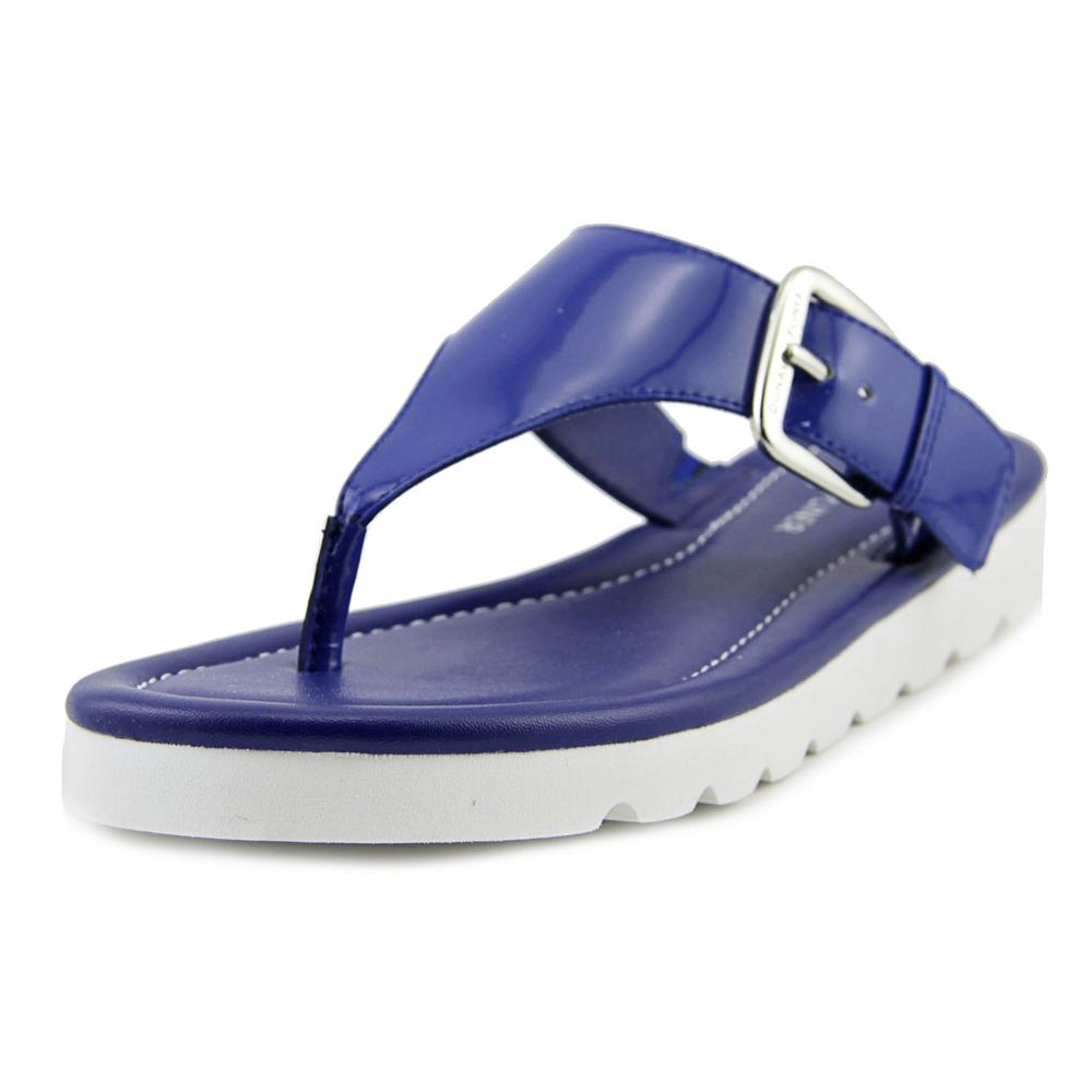 Donald J Pliner Leni Women Open Toe Patent Leather Blue Thong Sandal by Donald J Pliner