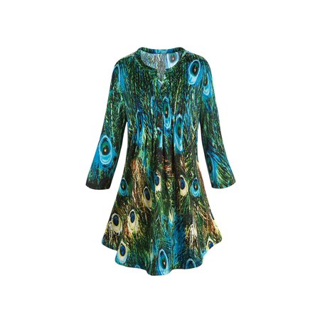 Women's Tunic Top - Green & Blue Peacock Feathers Pleated Blouse - Light Blue Toms