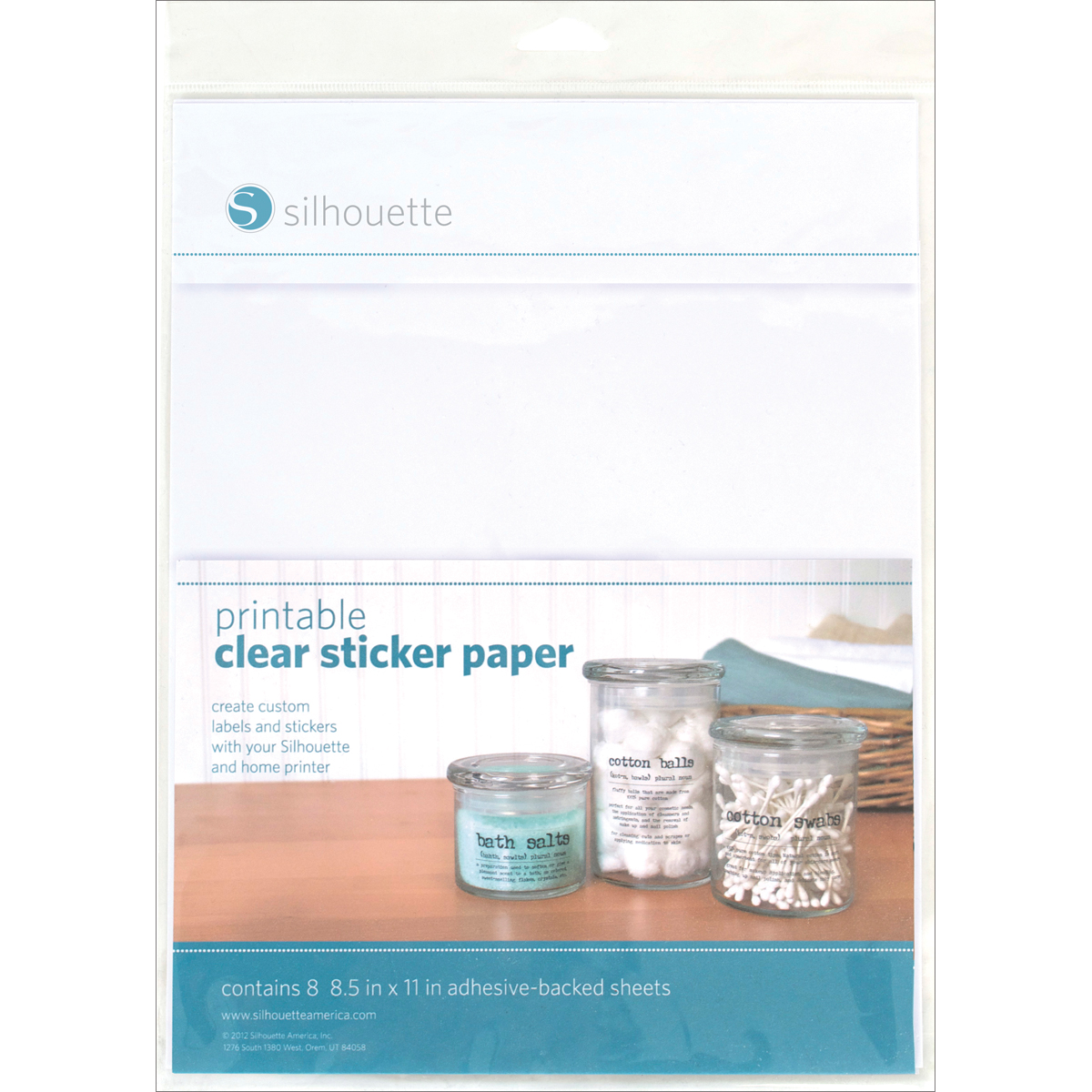 image relating to Printable Clear Labels titled Silhouette Printable Very clear Sticker Paper 8.5X11 8Pk