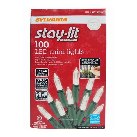 Sylvania Stay-Lit Platinum LED Indoor/Outdoor Christmas String Lights Warm White, 100 ct mini lights ()