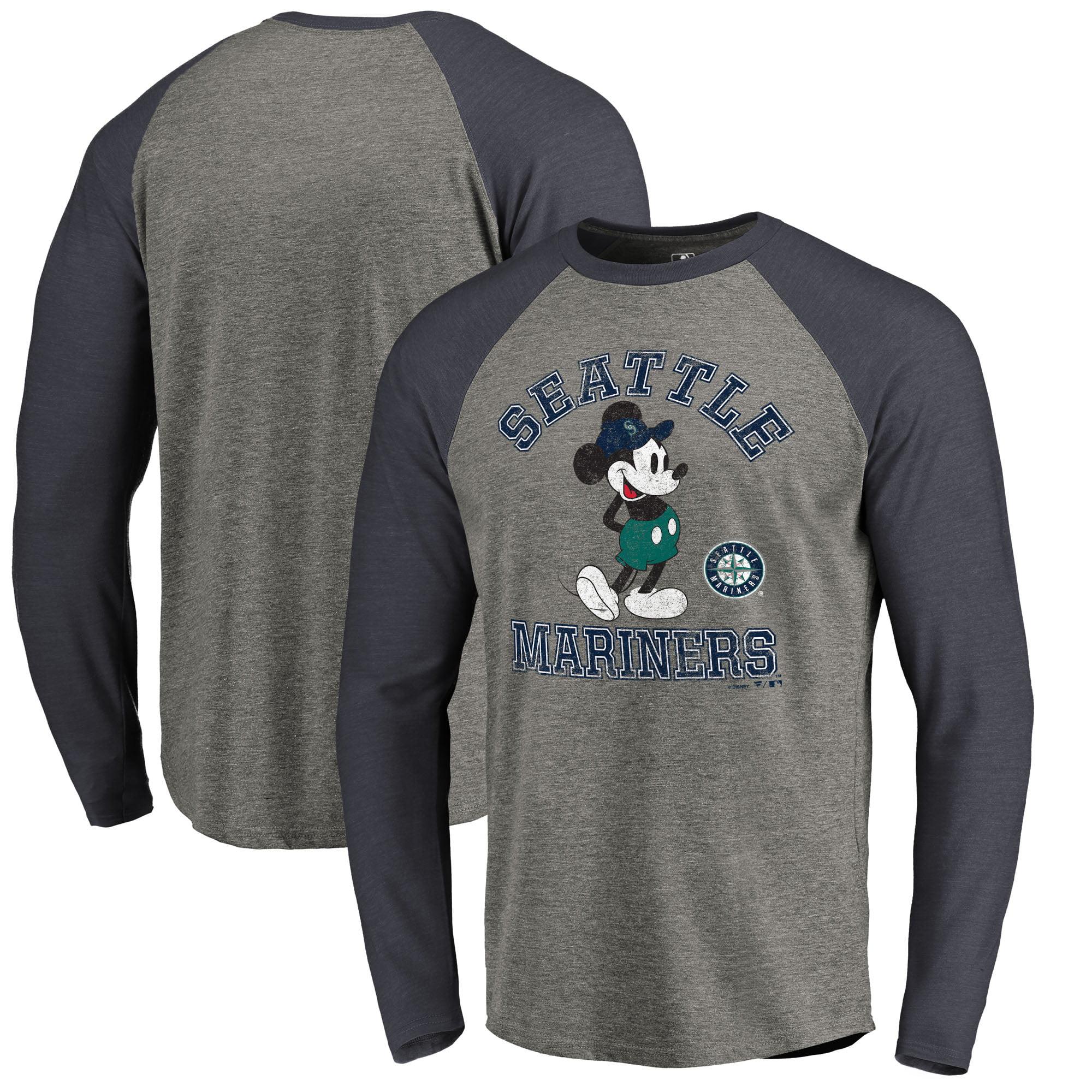 Seattle Mariners Fanatics Branded Disney MLB Tradition Long Sleeve Tri-Blend T-Shirt - Heathered Gray