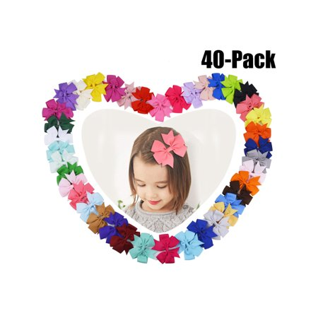Coxeer(3.1*3.1in/40Pcs/Multicolor)Ribbon Hair Bows Clips Hairpin Hair Accessories for Baby Girls Kids Teens Toddlers Children