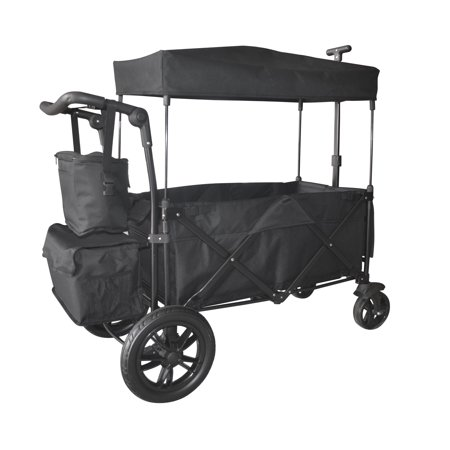 BLACK OUTDOOR FOLDING PUSH WAGON CANOPY GARDEN UTILITY TRAVEL CART TIRES