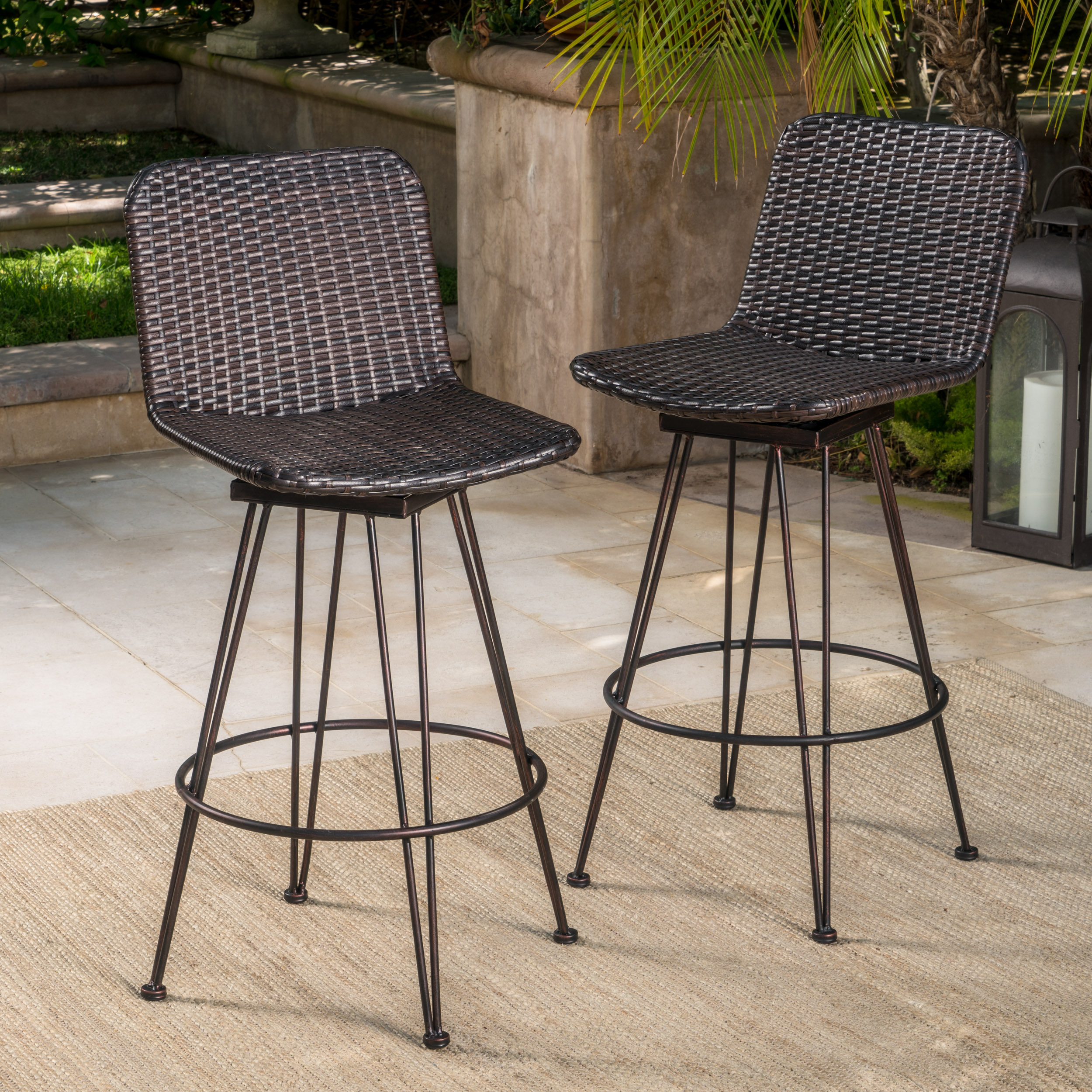 Topanga Outdoor Wicker Barstools with Black Brush Copper Iron Frame, Set of 2, Multibrown