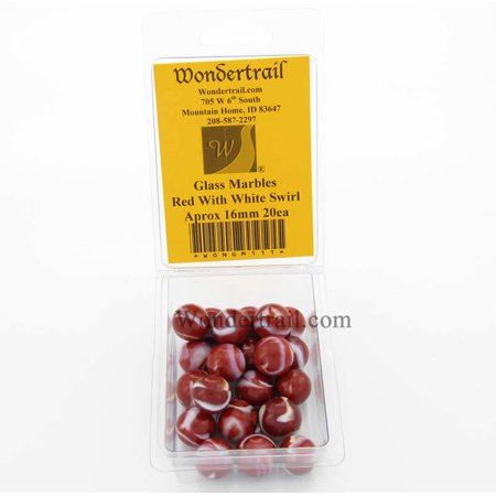 Red with White Swirl 16mm Glass Marbles Pack of 20 Wondertrail