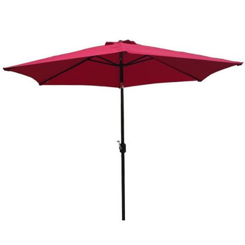 Palm Springs 10ft Aluminium Outdoor Patio Umbrella Garden Parasol w  Tilt Burgundy by