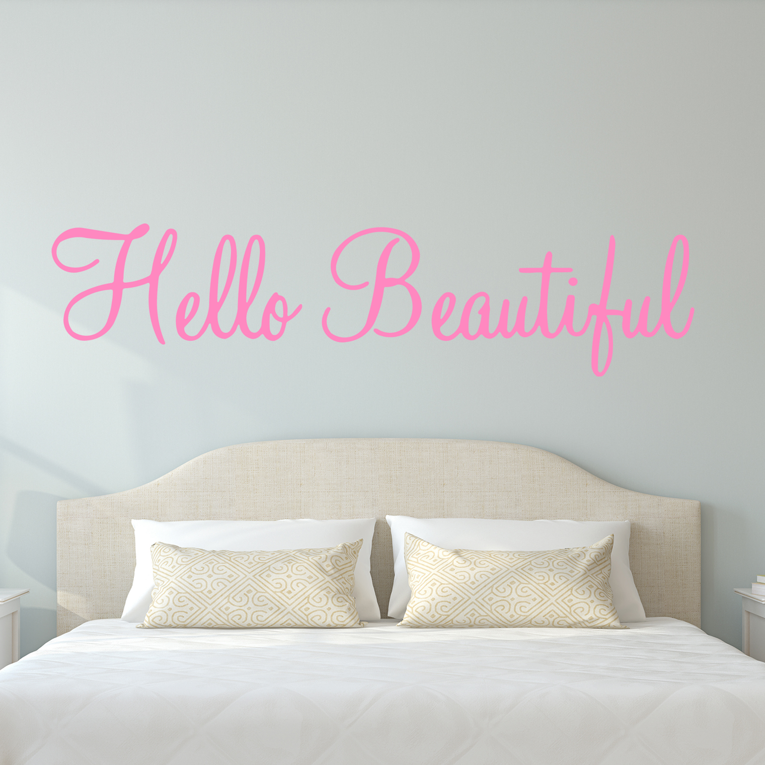 "VWAQ Hello Beautiful Wall Decal Inspirational Quotes Beauty Mirror Stickers #2 Version VWAQ-1656 (22""W X 6""H, Gold)"