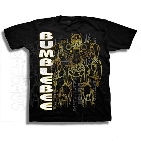 Transformers Little Bumblebee Movie Silhouette Boys T-Shirt, Black, 7