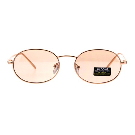Pop Color Lens 90s Retro Oval Round Metal Rim Sunglasses Gold Brown 13 Sunglasses Gold Frame