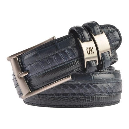 stacy adams belts stacy adams 35mm blue tri-leather embossed, croc, lizard, snake belt - Lizard Embossed Casual Belt