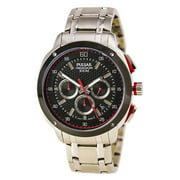 PT3395 Men's On The Go Black Dial Steel Bracelet Chronograph Watch