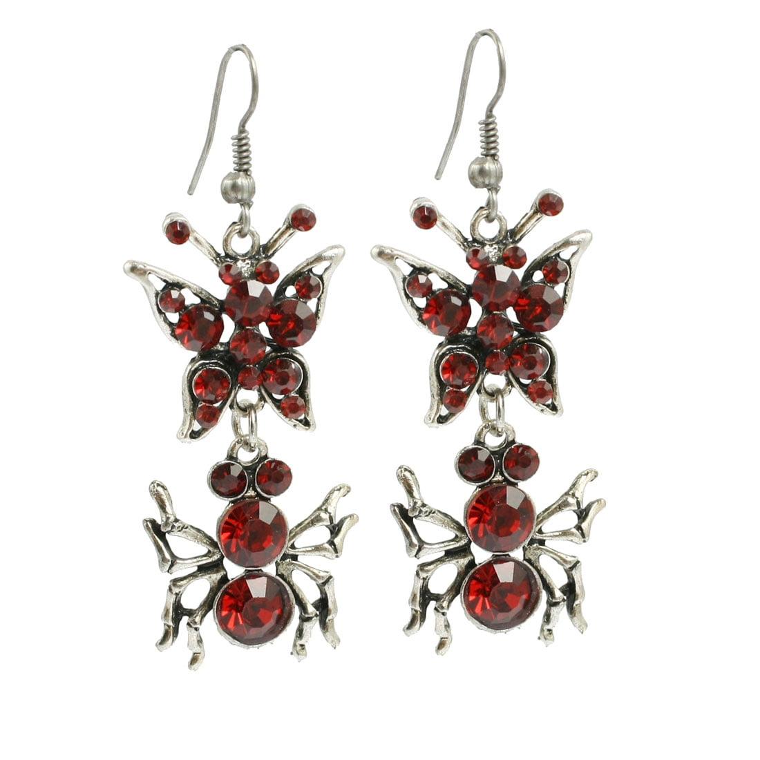 Red Plastic Rhinestone Decor Spider Dangling Ear Hook Earrings Pair