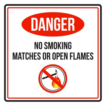 Match Com Commercial (Danger No Smoking Matches Or Open Flames Red, Black and White Business Commercial Safety Warning Square Sign - 9x9 )