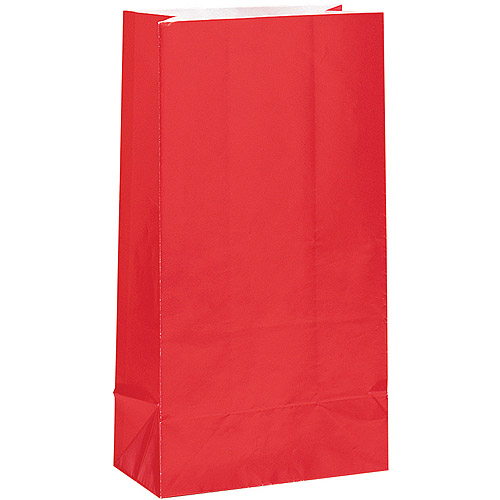 Paper Luminary & Party Bags, 10 x 5 in, Red, 12ct