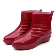 Bliss Brands Womens Waterproof Rain Boots, Fashionable Red Ankle High Rubber Splash Boots (37)