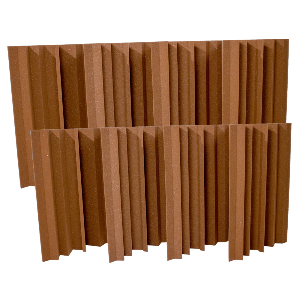 Seismic Audio 8 Pack of Brown Acoustic Foam Corner Bass Traps - Sound Dampening Panels - SA-FMBST-Brown-8Pack