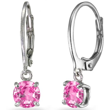 Created Pink Sapphire Sterling Silver 6mm Round Dangle Leverback Earrings