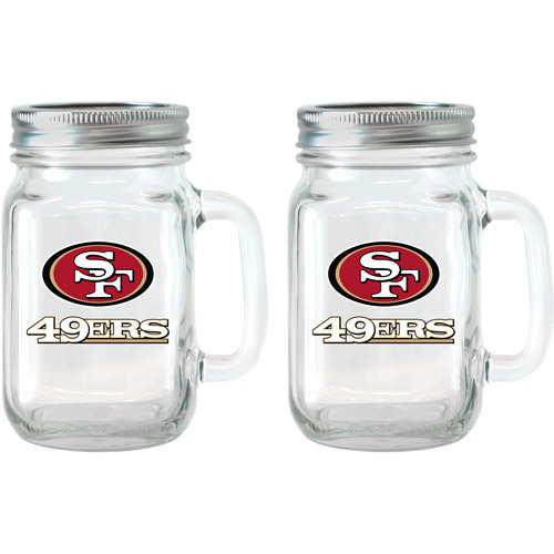 NFL 16 oz San Francisco 49ers Glass Jar with Lid and Handle, 2pk