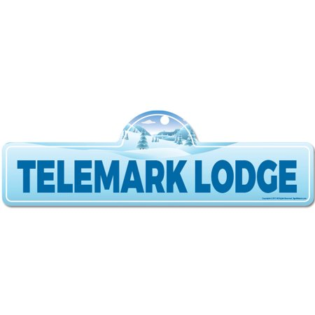 Telemark Lodge Street Sign | Indoor/Outdoor | Skiing, Skier, Snowboarder, Décor for Ski Lodge, Cabin, Mountian House | SignMission personalized gift