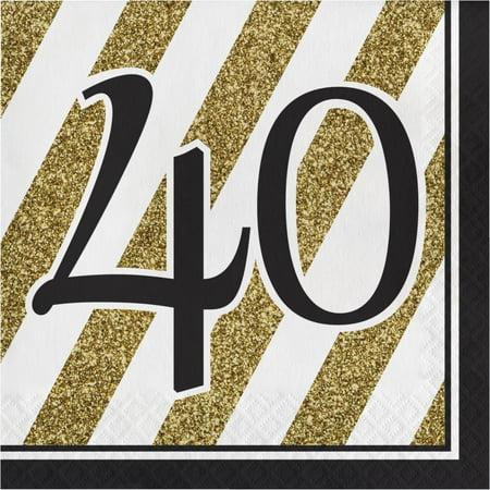 Creative Converting Black And Gold 40th Birthday Napkins, 16 ct