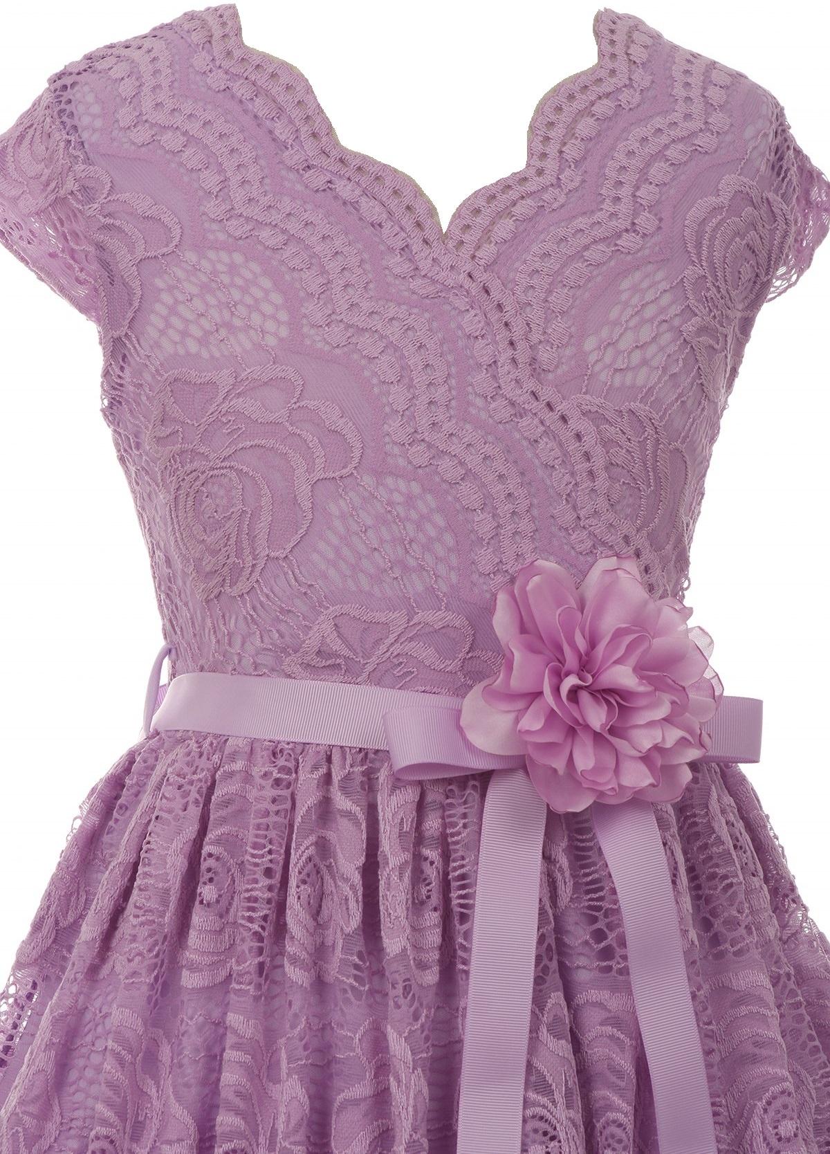 528f8629b6 Little Girl Cap Sleeve V Neck Flower Border Stretch Lace Corsage Belt  Flower Girl Dress (20JK66S) Lilac 4 - Walmart.com