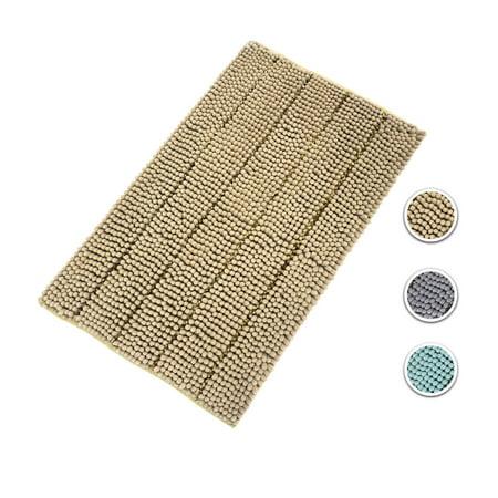 (Cloud Mountain Non-Slip Bathroom Rugs Chenille Bath Rugs Microfiber Floor Mat Fast Water Absorbent 24