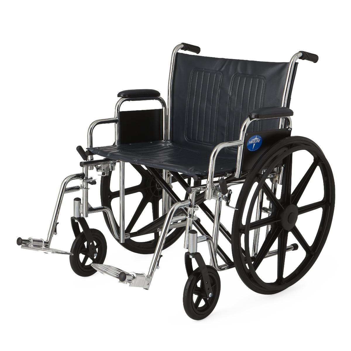 """Medline Excel Extra-Wide Wheelchair, 24"""" Wide Seat, Desk-Length Removable Arms, Swing Away Footrests"""
