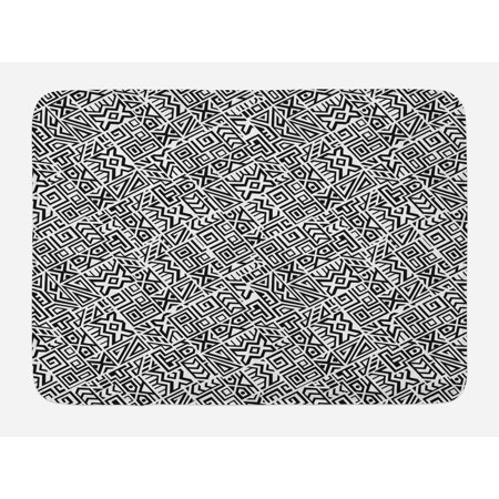 Black and White Bath Mat, Geometrical Boho Ethnic Tile Design with Peruvian Mexican Cultural Origins, Non-Slip Plush Mat Bathroom Kitchen Laundry Room Decor, 29.5 X 17.5 Inches, Black White, -