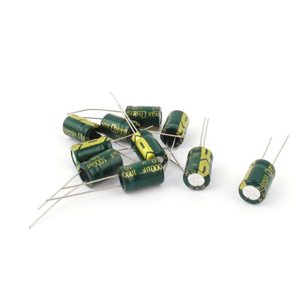 10 Pcs 10V 1000uF 105C Radial Lead Electrolytic Capacitor 8mm x 12mm
