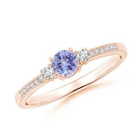 December Birthstone Ring - Classic Three Stone Tanzanite and Diamond Ring in 14K Rose Gold (4mm Tanzanite) -