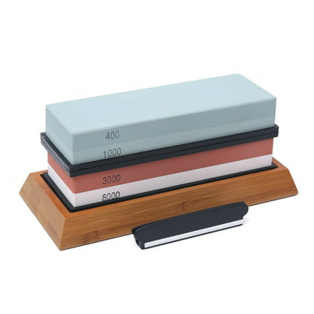 400/1000 3000/8000 Grit Premium Whetstone Cut Sharpening Stone Set Ideal Sharpener for All Blades Non Slip Base Cutter