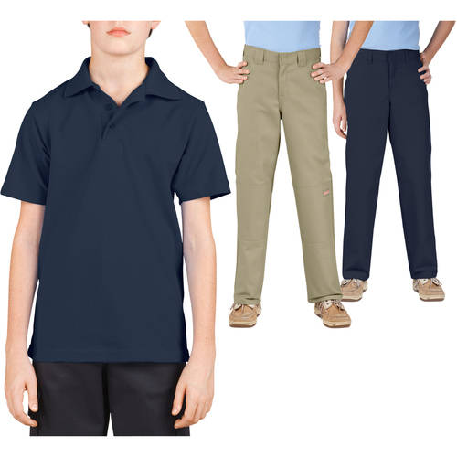 Dickies Boys' Polo Shirt and Pants School Uniform Outfit Set