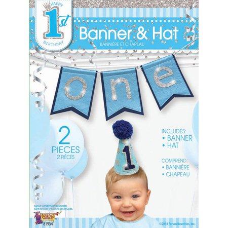 First Birthday Boy Banner & Hat Set (Happy 1st Birthday Banner)