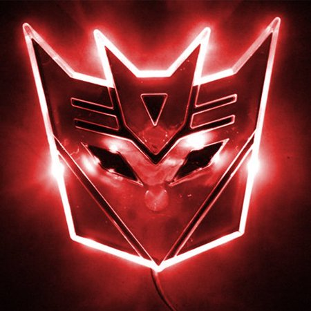Edge Glowing LED Transformers Decepticons Car Emblem - RED -LED Transformers Decpticons car emblem(Autobots Transformers emblem is available, please search it in our online store)-Edge glowing,chromium designing-Color available in Red, Blue, White,Warm White, Amber-Input voltage: 12V,directly hook to car battery, tail or brake light-3M self-adhesive tape on back, two power cables