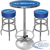 Ultimate Bud Light Gameroom Combo - 2 Bar Stools and Table Set