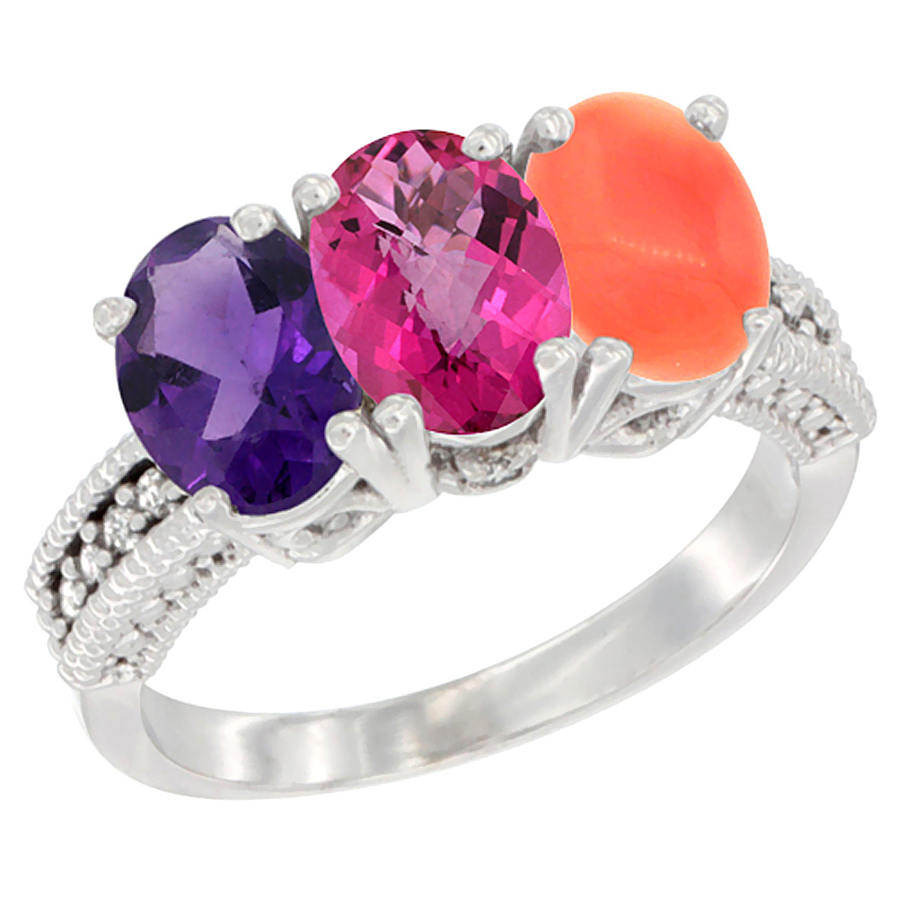 10K White Gold Natural Amethyst, Pink Topaz & Coral Ring 3-Stone Oval 7x5 mm Diamond Accent, sizes 5 10 by WorldJewels