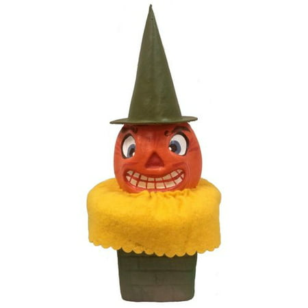 Pinnacle Peak Trading Co Pumpkin Head in Chimney German Paper Mache Halloween