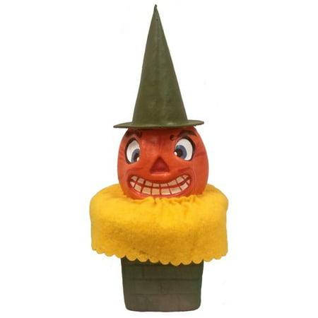 Pinnacle Peak Trading Co Pumpkin Head in Chimney German Paper Mache Halloween for $<!---->
