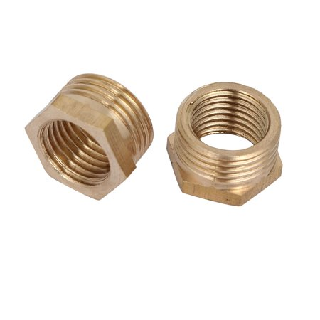 Unique Bargains3/8BSP Male x 1/4BSP Female Thread Brass Hex Bushing Pipe Fitting 2pcs - image 2 of 2