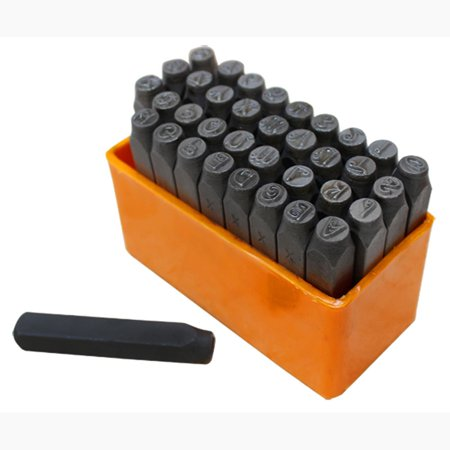 - 36 PCS 1/4'' 6mm Metal Punch Stamps CAPITAL Letter Number Marking Ingot Jewelry