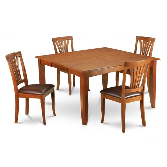 Wooden Imports Furniture PFAV5-SBR-LC 5PC Parfait Square Table with 18''Butterfly Leaf & 4 Faux Leather upholstered Seat