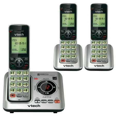 VTech CS6629-3 Cordless Phone with Answering Machine & Caller ID/Call Waiting, 3 Handsets