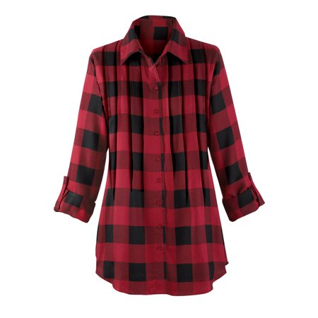 9d58d9f7954 Women's Buffalo Plaid Design Pintuck Tunic Top with Roll-Tab Sleeves and Button  Front, Medium, Red/Black