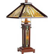 """Chloe Lighting Innes Tiffany-Style 3-Light Mission Double Lit Wooden Table Lamp with 15"""" Shade"""