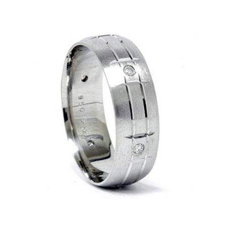 Mens 950 Palladium 7mm Diamond Brushed Wedding Ring Palladium Engraved Ring